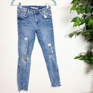 Zara trafaluc distressed raw hem skinny jeans 4